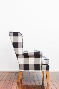 Black & White Buffalo Check Wingback Chair | Chairish