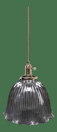 Holophane Prism Glass Globe Shade Pendant Light