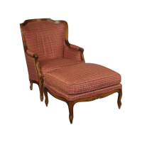 Louis XV Style Wing Back Chair & Ottoman | Chairish
