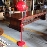 Red Industrial Floor Lamp | Chairish
