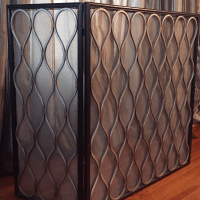 Gold Contemporary Fireplace Screen | Chairish