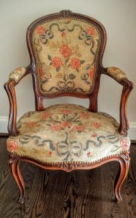 Antique French Louis XV Style Needlepoint Chair | Chairish