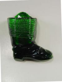 Green Glass Boot Match Holder & Striker | Chairish
