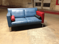 Vintage 1980s Italian Blue Leather Sofa