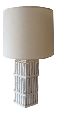 Hollywood Regency Faux Bamboo White Table Lamp, 1960s