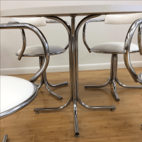 Vintage White and Chrome Dinette Set | Chairish