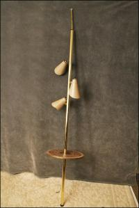 Mid Century Modern Tension Pole Lamp with Tile Top Table ...