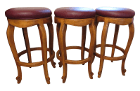 Traditional Burgundy Leather Bar Stools - Set of 3 | Chairish