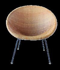 Vintage Mid-Century Modern Rattan & Wicker Hoop Chair ...