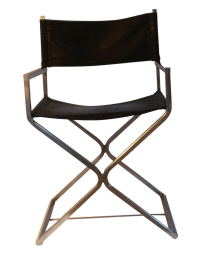 Vintage Leather and Chrome Directors Chair | Chairish