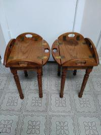 Wooden Butler Tray Tables- A Pair | Chairish