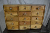 Vintage Handcrafted 15-Drawer Pine Storage Cabinet | Chairish