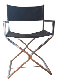 Mid-Century Chrome Directors Chair | Chairish