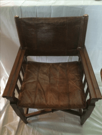 Mid-Century Modern Wood & Leather Sling Chair | Chairish
