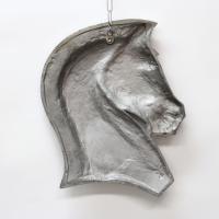Art Deco Horse Head Metal Wall Hanging | Chairish