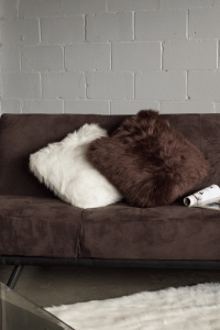Chocolate Brown Belton Faux Fur Pillow | Chairish