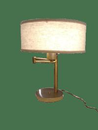Vintage Brass Swing Arm Desk Lamp with Drum Shade   Chairish