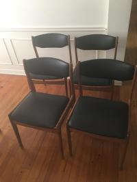 Black Mid-Century Dining Chairs - Set of 4 | Chairish