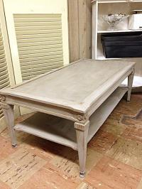 Vintage Chalk Painted Coffee Table | Chairish