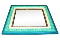 Antique Turquoise Painted Mirror in Chalk Paint   Chairish