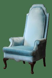 Light Blue Velvet High Back Chair | Chairish