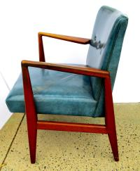 Mid-Century Jens Risom Teal Leather Chair | Chairish