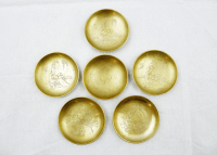 Vintage Chinese Engraved Brass Plates - Set of 6 | Chairish
