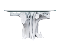 Vintage White Lacquered Driftwood Console Table | Chairish