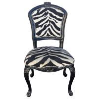French Louis XV Style Black Zebra Chair   Chairish