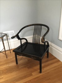 Chinese Horseshoe Chair in Black Lacquered Finish