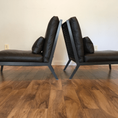 Leather Slipper Chair Chocolate Dining Room Seat Covers Grey Camerich Arc Chairs - Pair | Chairish