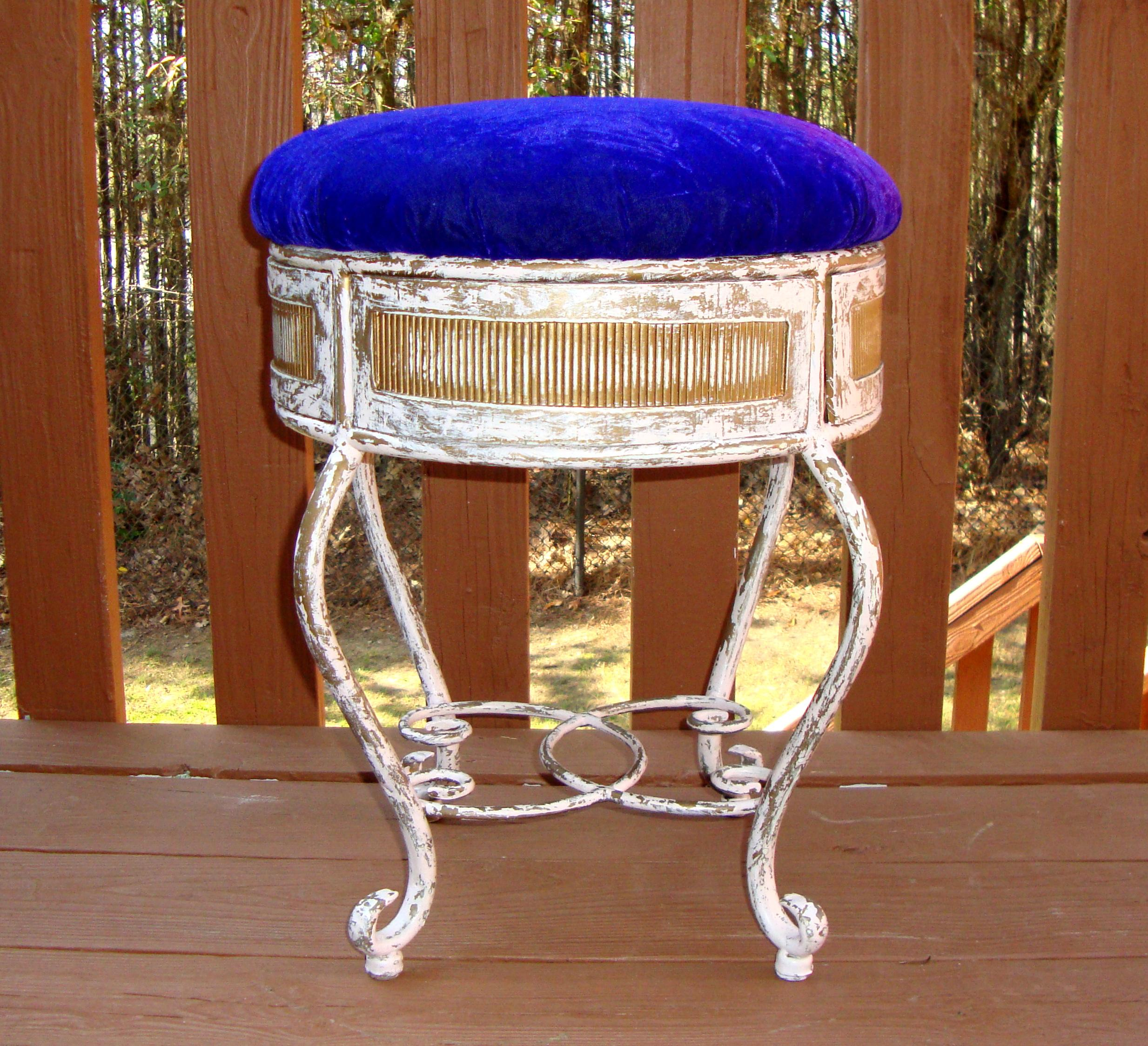 hickory chair vanity stool timothy oulton mimi dining vintage gold iron in purple velvet | chairish