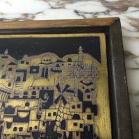Mid-Century Brass Cityscape Wall Art | Chairish