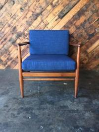 Mid-Century Danish Refinished Walnut Lounge Chair | Chairish