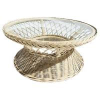 Vintage Round Wicker Glass Top Coffee Table | Chairish