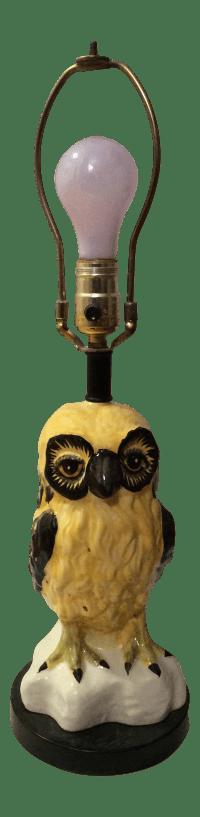 Vintage Italian Ceramic Owl Lamp | Chairish