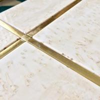 Mid Century Travertine & Brass Cross Coffee Table | Chairish