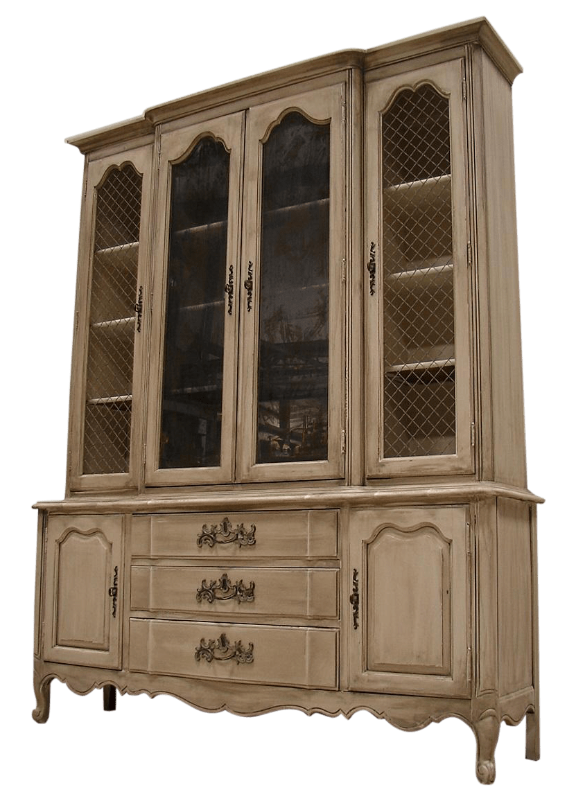 French Provincial Gray Wash China Cabinet Cupboard  Chairish
