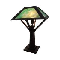 Antique Mission Oak Slag Glass Table Lamp | Chairish