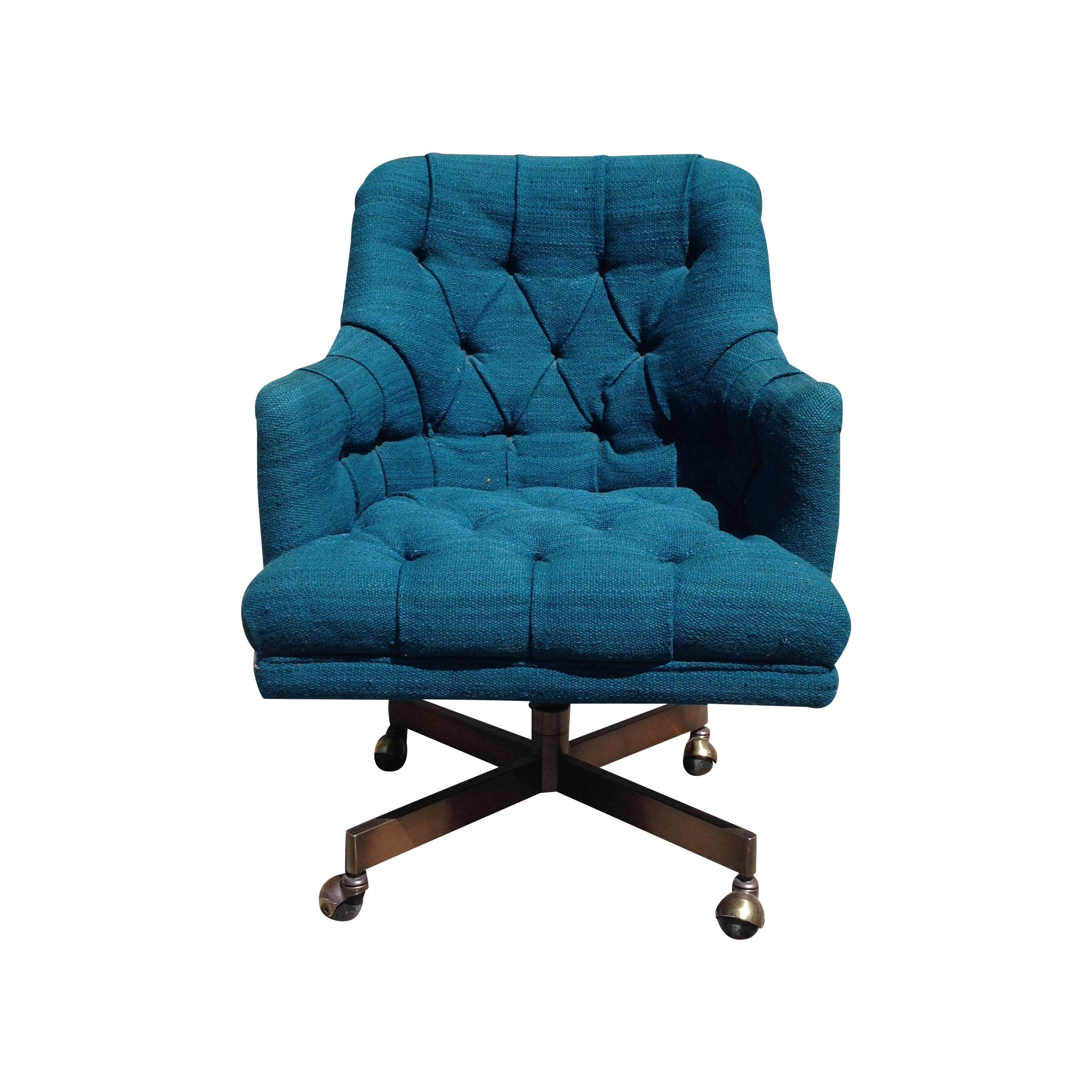 Oversized Teal Tufted Office Chair  Chairish
