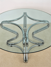 Vintage Mid Century Modern Chrome Round Dining Table Made ...