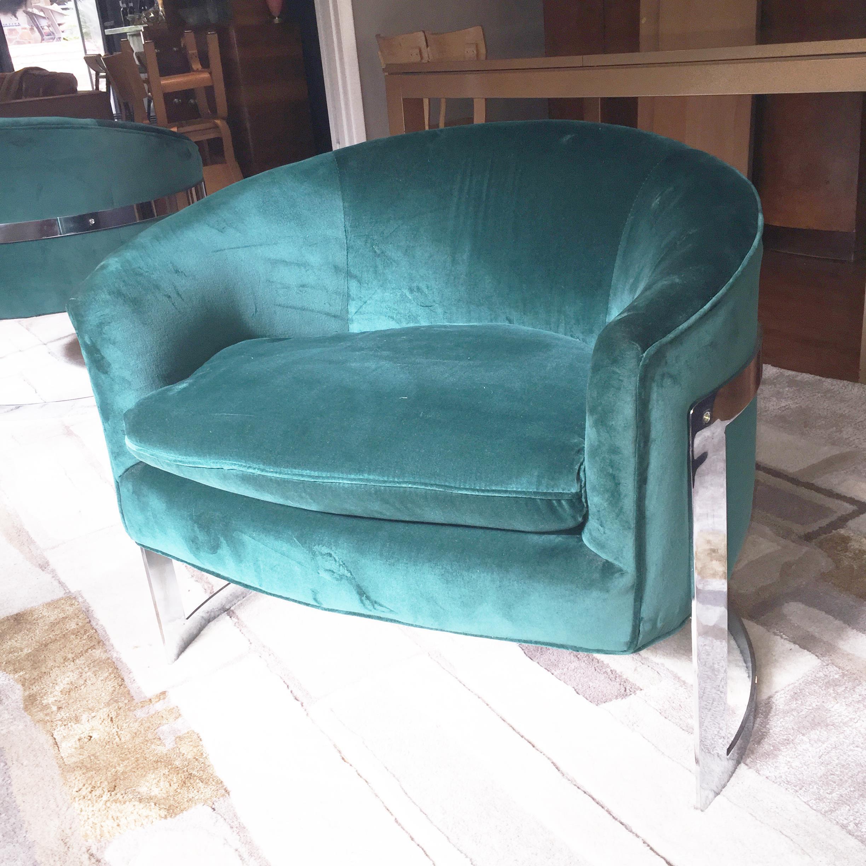 Milo Baughman Barrel Back Chrome Chairs