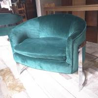 Milo Baughman Barrel Back Chrome Chairs - Set of 2 | Chairish