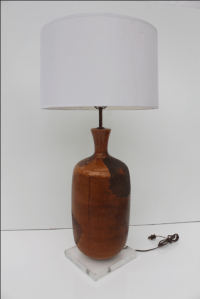 Vintage Orange Glazed Pottery Table Lamp | Chairish