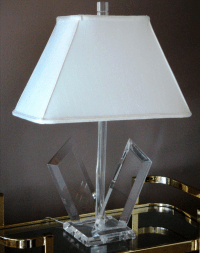 Van Teal Sculptural Lucite Lamps - A Pair | Chairish