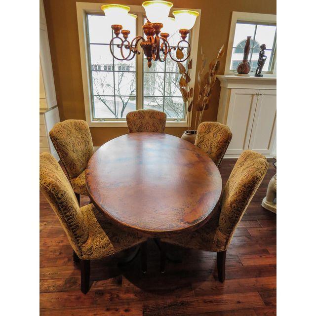 arhaus kitchen table best floors oval copper rod iron legged dining | chairish