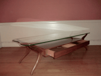 Danish Modern Glass Top Coffee Table | Chairish