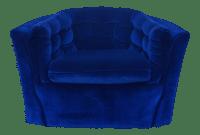 Blue Velvet Mid-Century Modern Swivel Chair | Chairish
