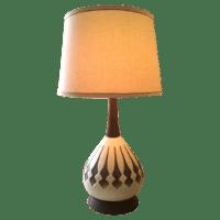 Mid-Century Ceramic & Walnut Table Lamp | Chairish