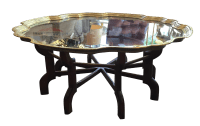 Vintage Moroccan Style Brass and Wood Coffee Table | Chairish